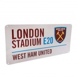 Plechová cedulka West Ham United FC ulice bílá (typ 18)